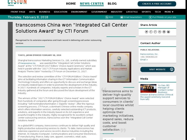 "transcosmos China won ""Integrated Call Center Solutions Award"" by CTI..."