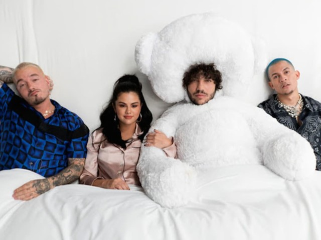 "Watch Selena Gomez, J Balvin, Benny Blanco, and Tainy Have a Slumber Party in ""I Can't Get Enough"" Video"