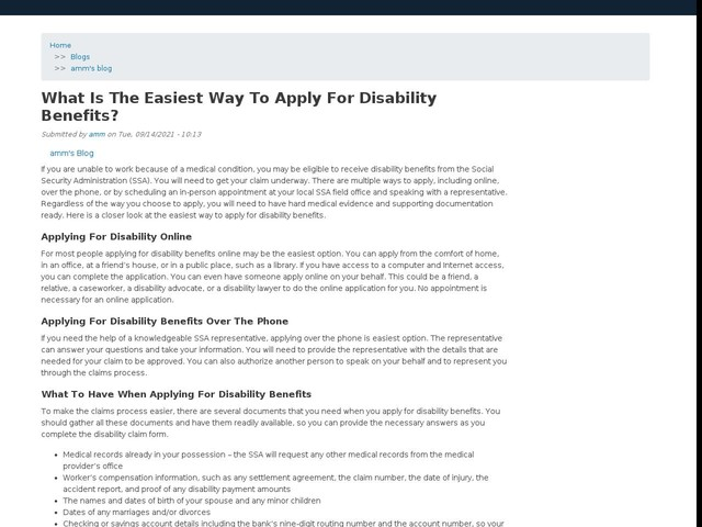 What Is The Easiest Way To Apply For Disability Benefits?