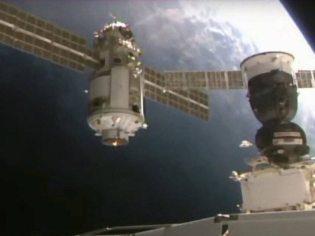 After docking, Russia's new 23-ton module tilted the space station