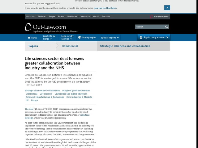 Life sciences sector deal foresees greater collaboration between industry and the NHS