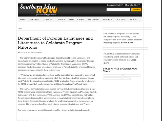 Department of Foreign Languages and Literatures to Celebrate Program Milestone