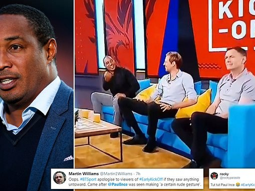Paul Ince caught making rude gesture at fellow pundit Chris Sutton on BT Sport morning show