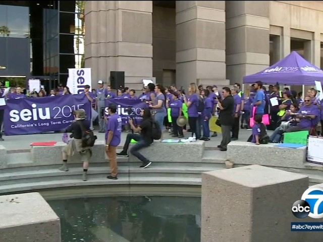 San Bernardino County caregivers rally for better wages, healthcare
