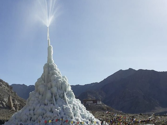The Artificial Glacier Growing In The Desert Of India