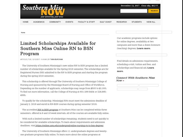 Limited Scholarships Available for Southern Miss Online RN to BSN Program