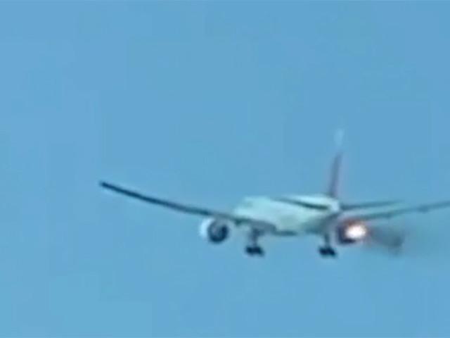Video: Plane engine spews fire, smoke before emergency landing at LAX