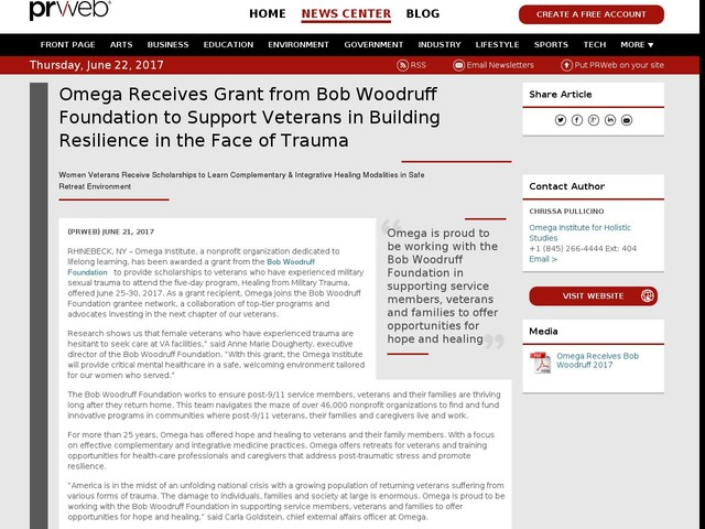 Omega Receives Grant from Bob Woodruff Foundation to Support Veterans...