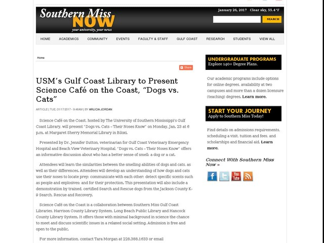 "USM's Gulf Coast Library to Present Science Café on the Coast, ""Dogs vs. Cats"""