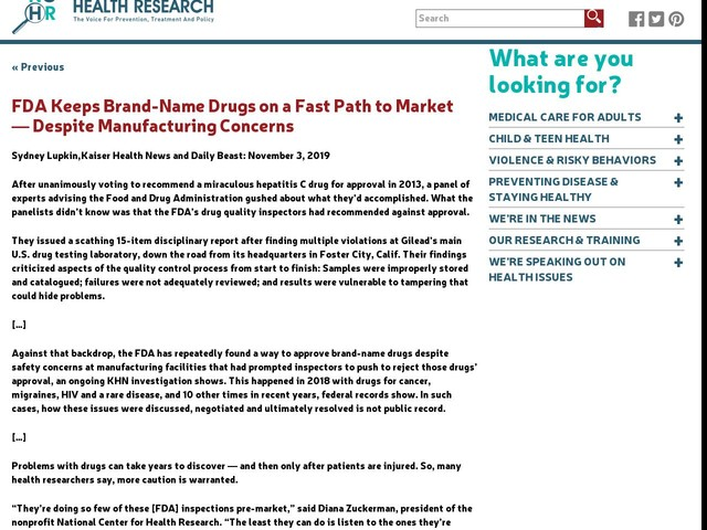 FDA Keeps Brand-Name Drugs on a Fast Path to Market ― Despite Manufacturing Concerns
