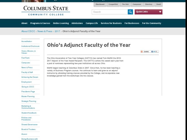 Ohio's Adjunct Faculty of the Year