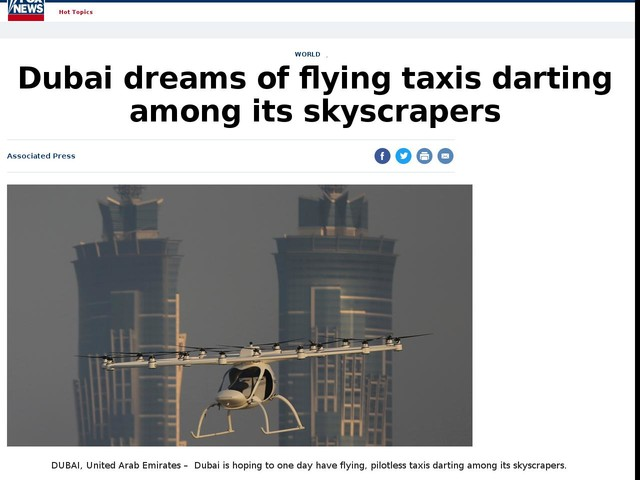 Dubai dreams of flying taxis darting among its skyscrapers