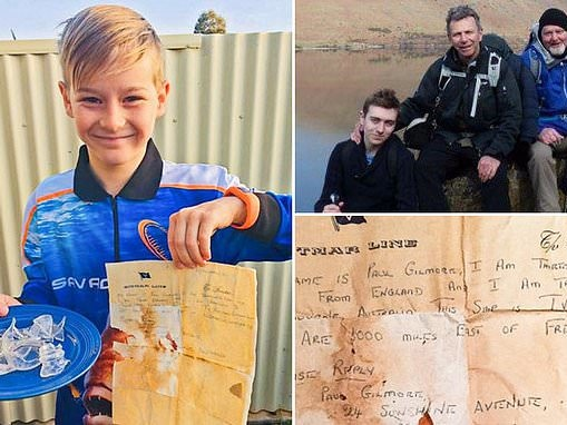 Australian boy, 13, finds message in a letter dropped in the ocean by a British teenager 50 years