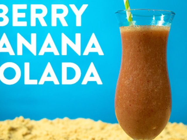 Berry Banana Colada Frozen Rum Cocktail