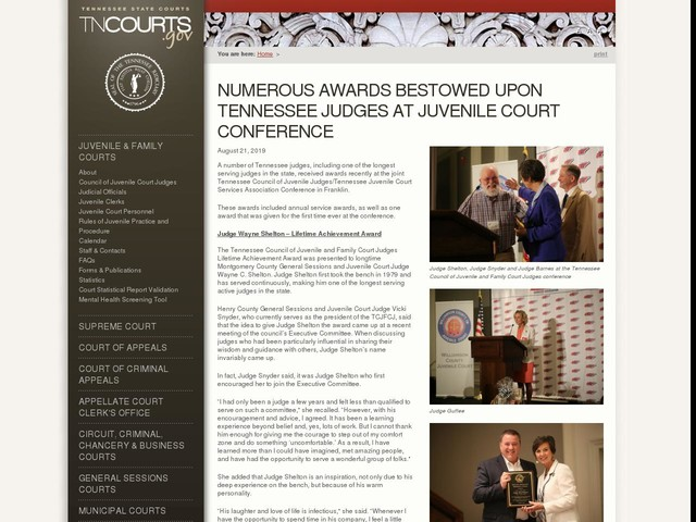Numerous Awards Bestowed Upon Tennessee Judges at Juvenile Court Conference
