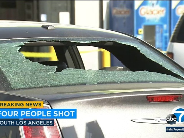 4 wounded in South LA car-to-car shooting