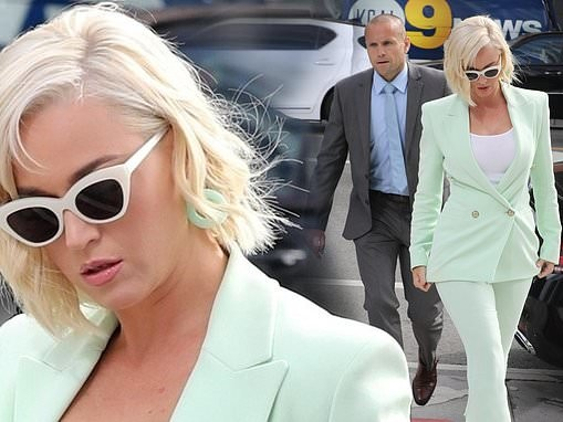 Katy Perry arrives to court wearing mint green suit before testifying in copyright infringement case