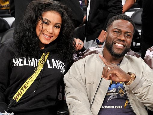 Kevin Hart sits courtside with wife Enniko Parrish to watch LA Lakers at Staples Center