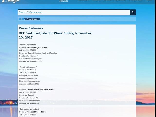 DLT Featured Jobs for Week Ending November 10, 2017