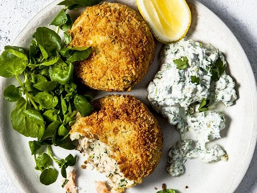 Stage two:Celeriac and salmon fishcakes with low-cal tartare sauce