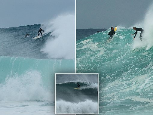Hundreds of surfers take to huge waves at Sydney's beaches in the one of the swells of the year