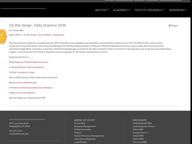 On the Verge- Data Science 2018