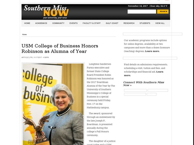 USM College of Business Honors Robinson as Alumna of Year