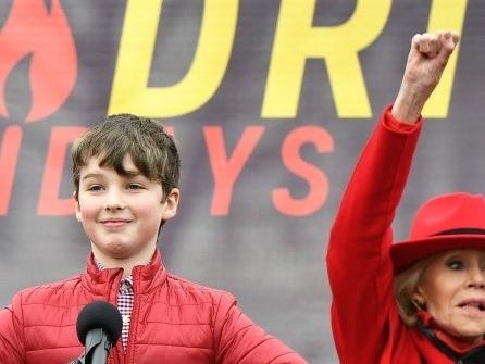 'Young Sheldon' star Iain Armitage Wished Greta Thunberg Happy Birthday at Jane Fonda's Climate Change Protest
