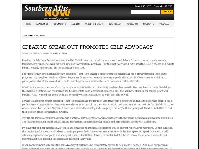 SPEAK UP SPEAK OUT PROMOTES SELF ADVOCACY