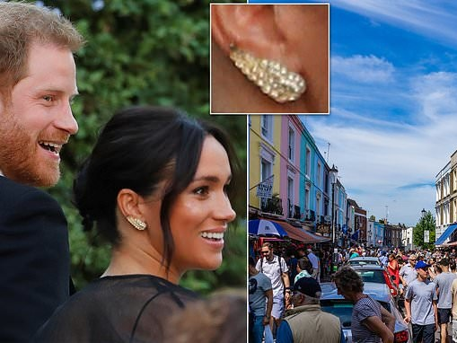 Meghan's £5 earrings she borrowed from a friend who bought them in Portobello Market