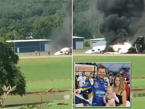 Dramatic footage shows moment Dale Earnhardt Jr and his wife flee the fiery wreckage of their plane