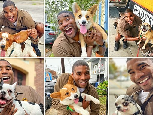 Doggy delivery! UPS driver shares adorable snaps with the friendly pooches he meets on his route