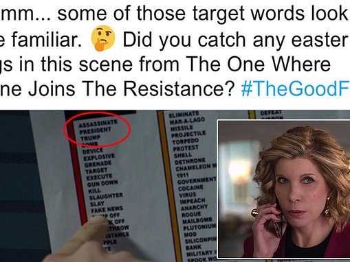 Viewers slam CBS after show The Good Fight tweeted a picture with words 'assassinate' and 'Trump'