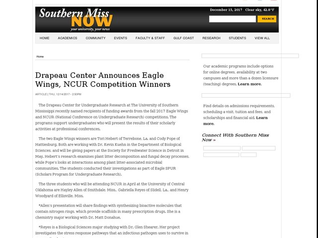 Drapeau Center Announces Eagle Wings, NCUR Competition Winners