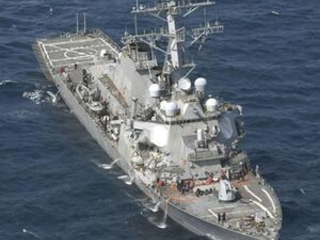 The Latest: 2 injured airlifted after US Navy ship collision