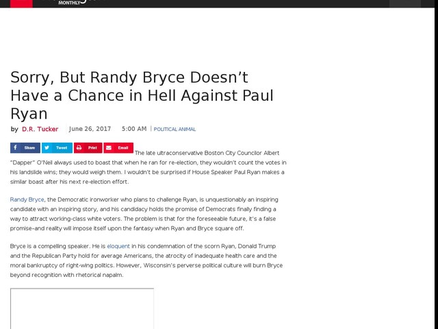Sorry, But Randy Bryce Doesn't Have a Chance in Hell Against Paul Ryan