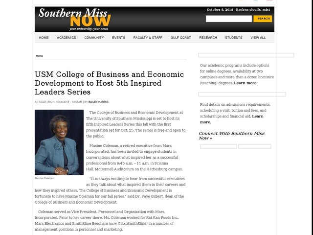 USM College of Business and Economic Development to Host 5th Inspired Leaders Series