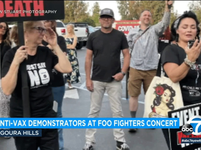 Anti-vaccine protesters picket outside Foo Fighters concert in Agoura Hills
