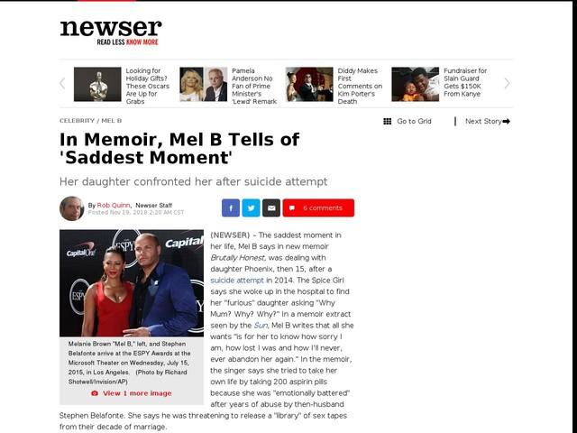 In Memoir, Mel B Tells of 'Saddest Moment'