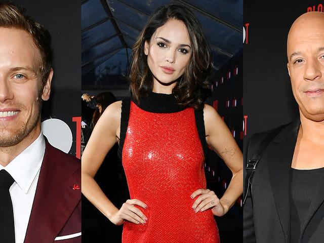 Sam Heughan Joins Eiza Gonzalez & Vin Diesel at 'Bloodshot' LA Premiere