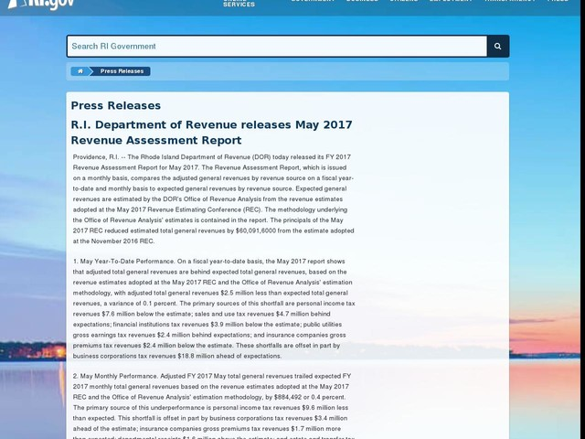 R.I. Department of Revenue releases May 2017 Revenue Assessment Report