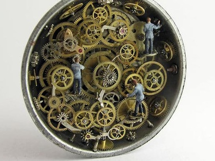 Artist's repurposed vintage pocket watches reveal magical miniature worlds