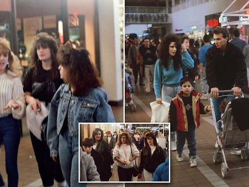 Denim, big glasses and LOTS of hairspray! American mall shoppers from the 1980s