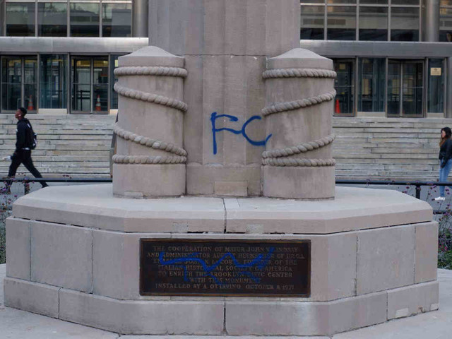 Downtown Brooklyn Columbus statue defaced