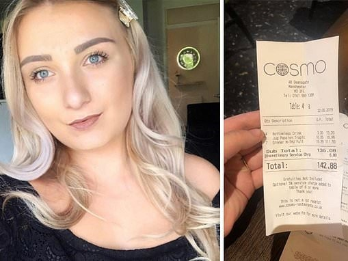 Woman speechless after mystery 'footballer' pays £142 bill for 21st birthday dinner
