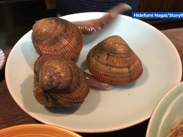 Live clams move around on diner's plate in Japan