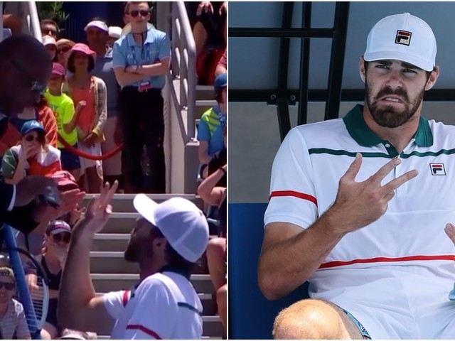 An American tennis player swore at an umpire and called him 'pathetic' in a foul-mouthed rant at the Australian Open