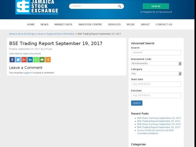 BSE Trading Report September 19, 2017