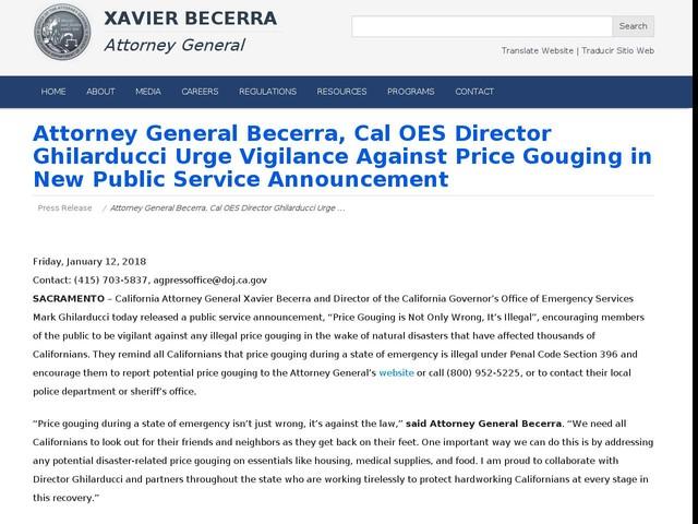 Attorney General Becerra, Cal OES Director Ghilarducci Urge Vigilance Against Price Gouging in New Public Service Announcement