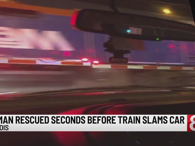 Bystanders, police rescue 96-year-old woman stuck on tracks just before train crashes into car